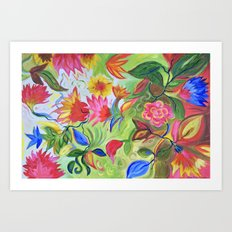 Pastel Flower Swirls Art Print