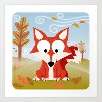 Woodland Animals Series II. Fox Art Print