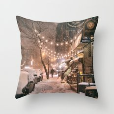 Snow - New York City - E… Throw Pillow
