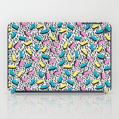 Poppin - memphis throwback retro 1980s 80s style classic trendy hipster pattern bright neon dorm  iPad Case