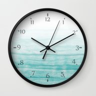 Wall Clock featuring Turquoise Sea by AhaC