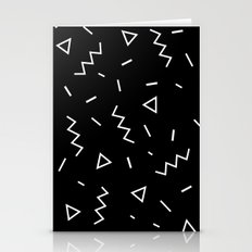 Inverted Black and White Zig Zag Print Stationery Cards
