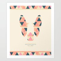 Boston Terrier: Triangles. Art Print