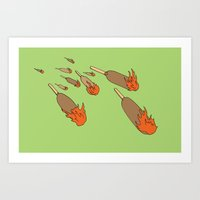 Flaming Corn Dogs Art Print