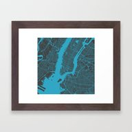 New York Map Framed Art Print
