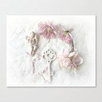 Shabby Cottage Romantic Pink White Peony Skeleton Key Art Canvas Print