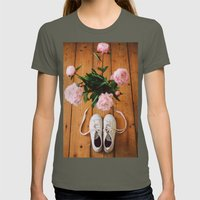 Flowers And Shoes. Womens Fitted Tee Lieutenant SMALL