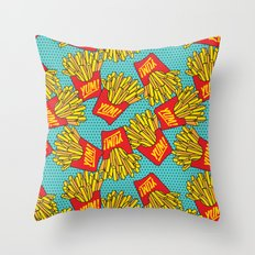 Would You Like Fries With That? Teal Throw Pillow