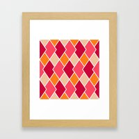 Big Harlequin Diamonds: RED Multi Framed Art Print