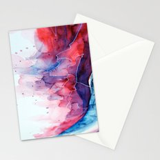 Watercolor magenta & cyan, abstract texture Stationery Cards