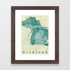 Michigan State Map Blue Vintage Framed Art Print