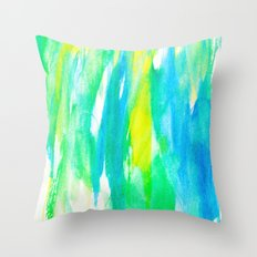 Artistic Neon Turquoise Yellow Teal Watercolor Throw Pillow