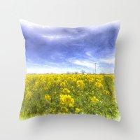 Yellow Fields Of Summer Art Throw Pillow