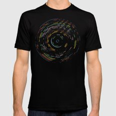 Rainbow Record on Black Mens Fitted Tee Black SMALL