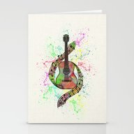 Stationery Cards featuring Colorful Acoustic Guitar by Janice Austin Design…