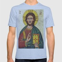 Icon of Jesus As Christ Pantocrator Mens Fitted Tee Athletic Blue SMALL