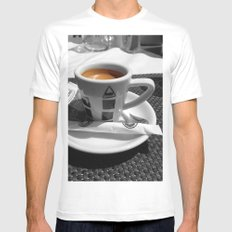 Coffee - espresso White SMALL Mens Fitted Tee