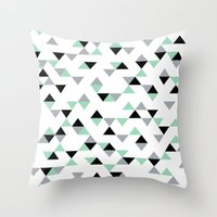Triangles Mint Grey Throw Pillow