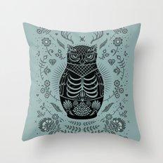 Owl Nesting Doll (Matryoshka) Throw Pillow