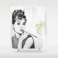 Audrey Hepburn and Her Dragon Shower Curtain