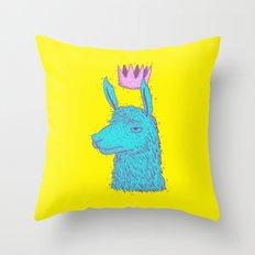 Llama King Throw Pillow
