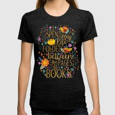 Folded Between the Pages of Books - Floral Womens Fitted Tee Tri-Black SMALL