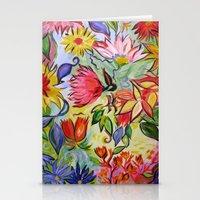 Pastel Flower Swirls Stationery Cards