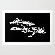 Bonzai Tree Reversed on Black Background Art Print