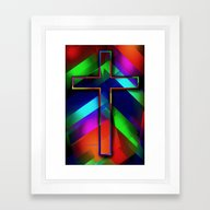 Colorful Cross By Annie … Framed Art Print