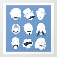 Famous Moustaches blue Art Print