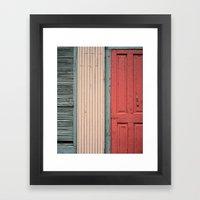 Teal shutter, coral door Framed Art Print