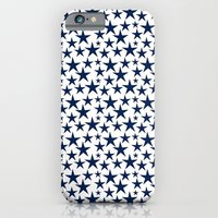 Blue stars on white background illustration iPhone 6 Slim Case