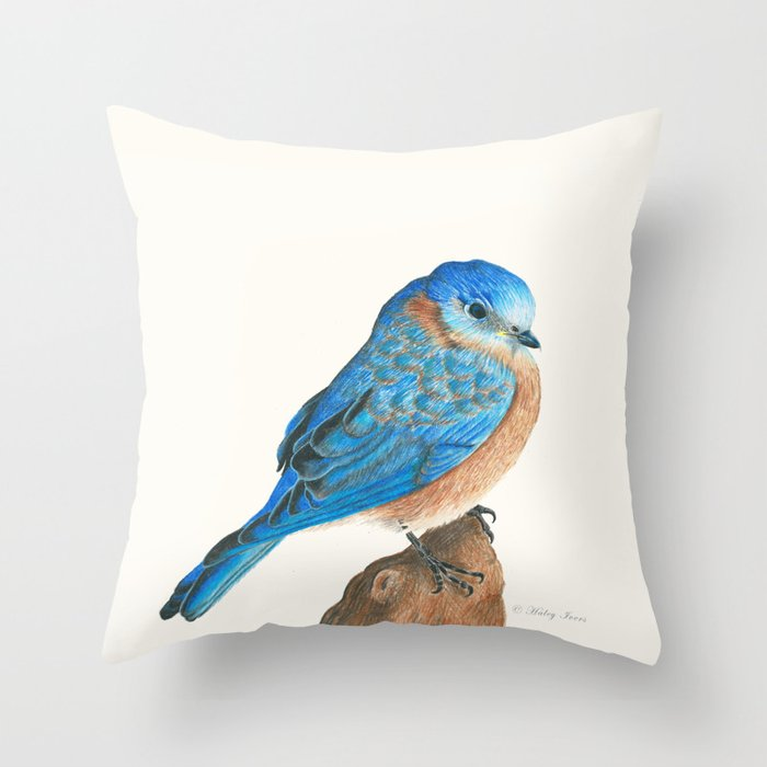 Blue Bird Throw Pillows : Blue Bird Throw Pillow by Haleyivers Society6