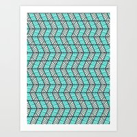 Blue Retro  Art Print