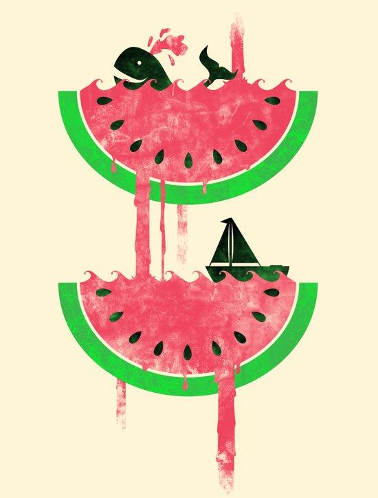 Watermelon falls Final Art Print