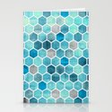 Blue Ink - watercolor hexagon pattern Stationery Cards