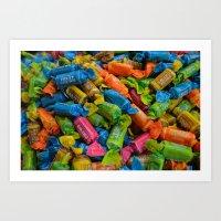colorful tootsie rolls Art Print