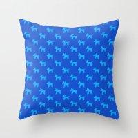 Dogs-Blue Throw Pillow