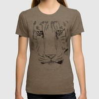 Tiger. Womens Fitted Tee Tri-Coffee SMALL