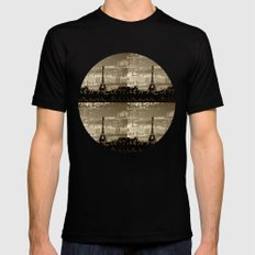 The Eiffel Tower behind the peace word-Sepia-Traveling series Mens Fitted Tee SMALL Black