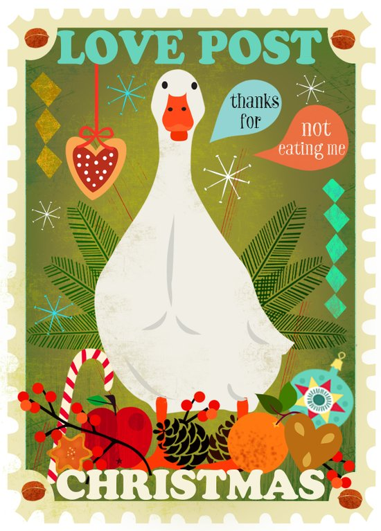 Love Post Goose Art Print