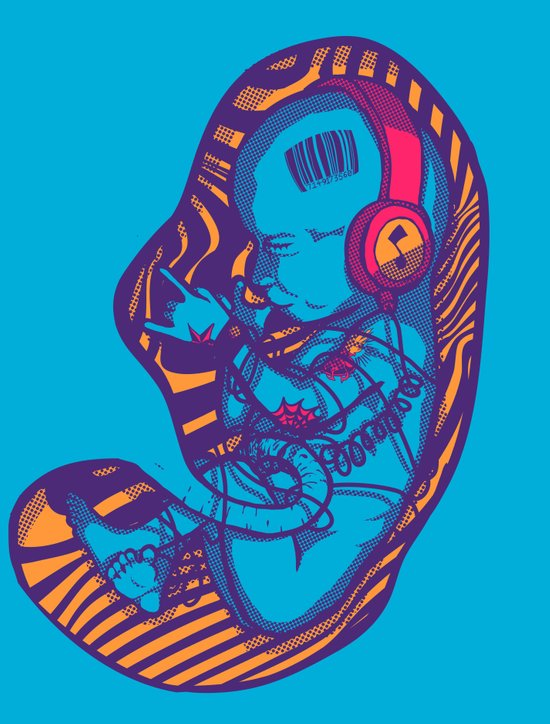 Neon Party Fetus  Art Print