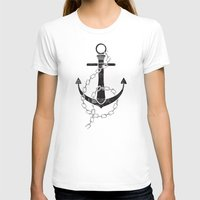 Anchor Print Womens Fitted Tee White SMALL