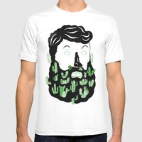 Cactus Beard Dude Mens Fitted Tee White SMALL