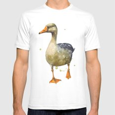 Goose, golden goose, goosey goosey gander, fowl art, farmyard animals, kitchen wall art Mens Fitted Tee White SMALL