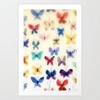 Butterfly watercolors Art Print