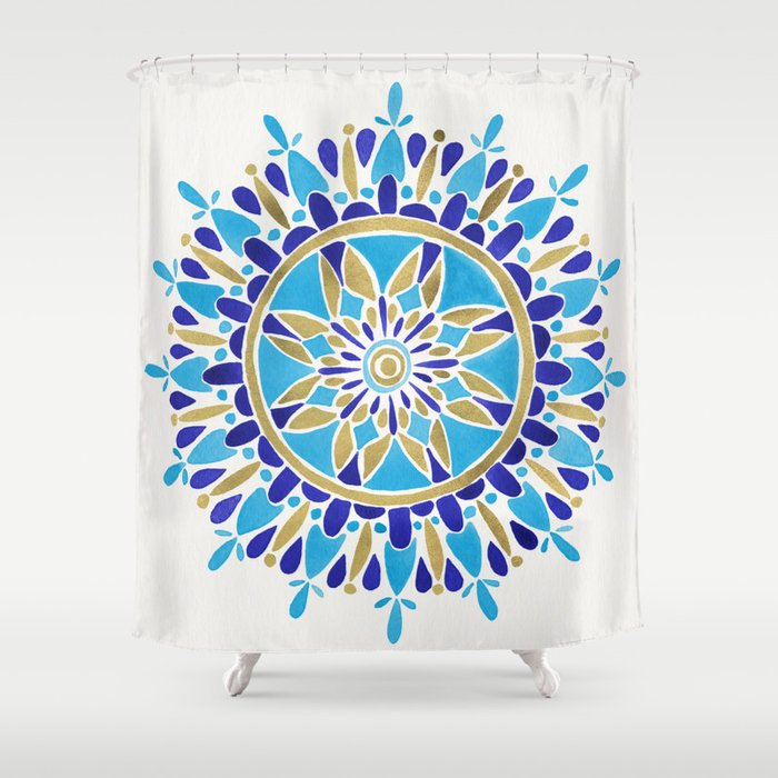 royal blue mandala shower curtain by cat coquillette society6