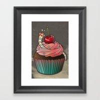 SWEET WORMS 1 - Cupcake Framed Art Print