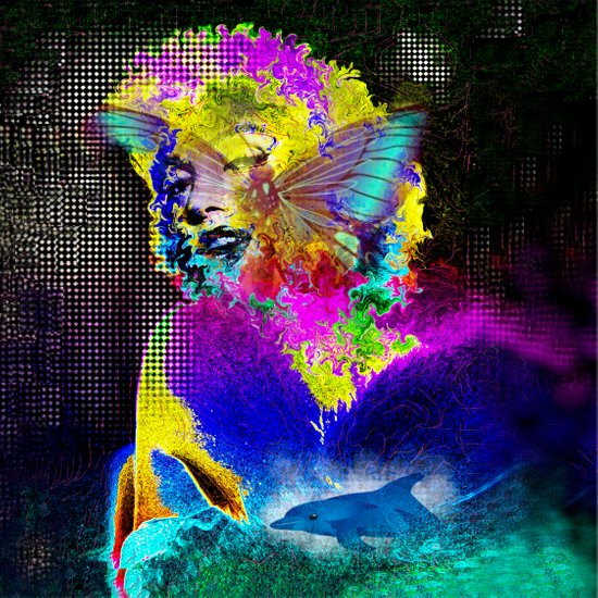 Marilin butterfly dolphin  Art Print