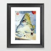 Fish Walks Into A Sushi … Framed Art Print